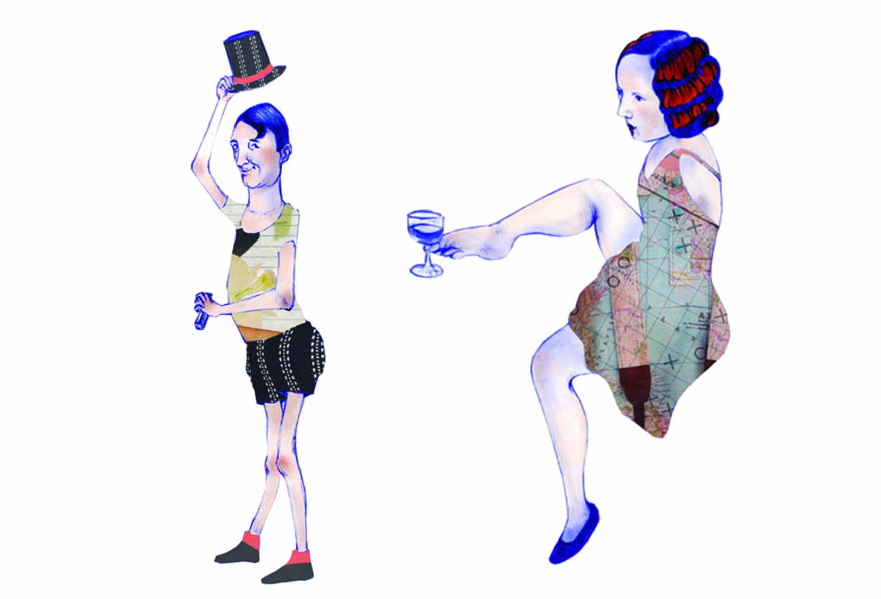 cartel hombre esqueleto y mujer sin brazos Escuela de arte nmero diez
